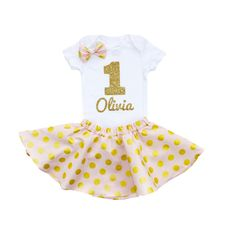 First Birthday Outfit with Pink & Gold Twirl Skirt and Hair Bow, personalized first birthday outfit