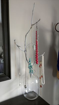 A branch from the yard for a jewelry holder! Of course!
