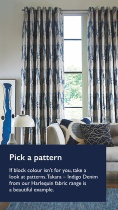 If you don't want a block colour, pick a pattern like Takar Indigo Denim Curtains for your living room. Accessorise with metallic vases or soften the look with plants or rugs, see how to style with Navy.