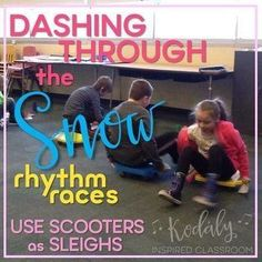 Elementary Music Rhythm Games for Winter - Dashing Through the Snow Rhythm Races Bundle - This set is perfect for winter time in the music room, before or after Christmas break! Four teams race on sleds (scooters) to find the correct rhythms for their tea Kindergarten Music, Preschool Music, Teaching Music, Teaching Tools, Teaching Ideas, Teaching Resources, Music Education Games, Music Activities, Music Games