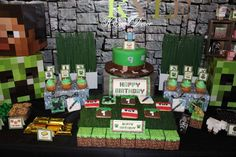 Minecraft birthday party dessert table! See more party ideas at CatchMyParty.com!