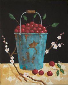 Cherries Folk Art Print by Kim's Cottage Art