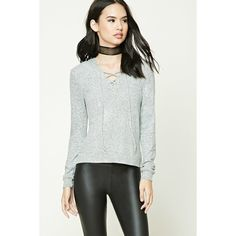 Forever21 Lace-Up Hooded Sweater ($15) ❤ liked on Polyvore featuring tops, sweaters, heather grey, v neck sweater, hooded sweater, long sleeve tops, forever 21 sweaters and hooded top