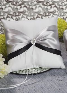 Nostalgia Ring Bearer Pillow - Satin pillow decorated with two bands of satin in your choice of colors.
