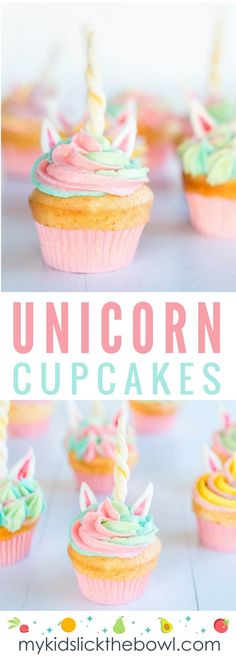 Unicorn Cupcakes - An easy tutorial, perfect fun activity to make with the kids in the kitchen! These cupcakes are absolutely magical and would be perfect at a whimsical birthday party! Kid Cupcakes, Unicorn Cupcakes, Flower Cupcakes, Baking Cupcakes, Cupcake Cakes, Confetti Cupcakes, Mocha Cupcakes, Gourmet Cupcakes, Strawberry Cupcakes