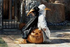 Waiting on Halloween - Steve Hanks Watercolor Paintings, http://hative.com/steve-hanks-watercolor-paintings/,
