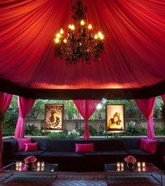 Dramatic pink & black lounge event decor