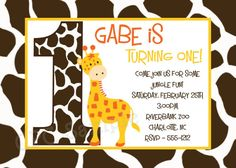 Giraffe Birthday Invitation Giraffe Birthday Party Invitation Jungle Safari Birthday Invitation Printable