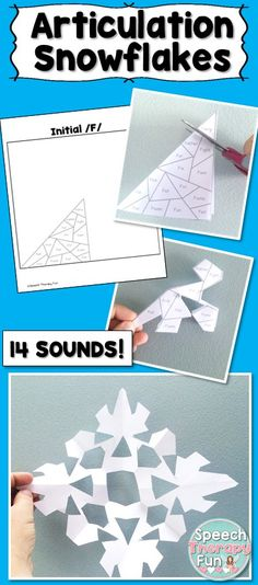 Articulation snowflakes are so much fun! Students cut out sections of the snowflake and say each word 5X.