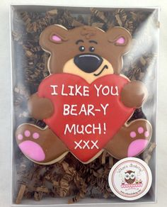 I love you bear-y much cookies, love bear cookies, teddy bear cookies, valentine's day cookies
