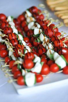 La Villa hotel weddings, wedding canapes, fresh cherry tomato, mozzarella and basil sticks with balsamic vinegar, Mombaruzzo