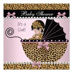 Baby Shower Cute Baby Girl Pink Leopard Bow Invites(( maybe this time trying it will be a girl;) ))