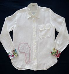 New 120% LINO Men's White Linen Shirt Size Large Regular Fit Made In Italy   #120Lino #ButtonFront