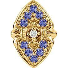 14k White or Yellow Gold Tanzanite Diamond Victorian Bracelet Slide 80881 :: Tanzanite Slides :: Slide Bracelets :: Generous Gems