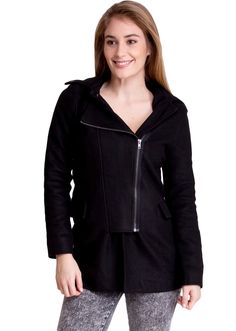 Side-Zip Hooded Winter Jacket J30531B, clothing, clothes, womens clothing, jeans, tops, womens dress