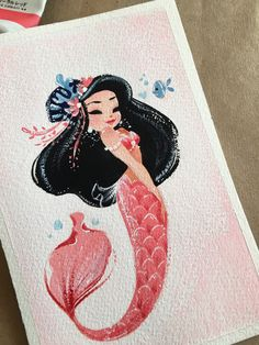 ORIGINAL pink mermie painting by LianaHee on Etsy