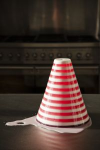 Raspberry and blancmange ribband jelly by Bompass & Parr