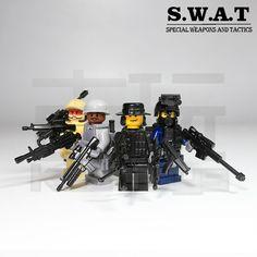 4 PCs Brand New Custom SWAT POLICE OFFICER Minifigure Point Man C25
