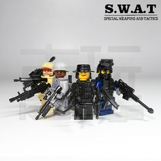 4 PCs Brand New Custom SWAT POLICE OFFICER Minifigure Point Man C25