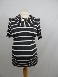 Dark Grey & White Striped Short Sleeve Cowl Neck Top w/ Ruched Sides-XSmall