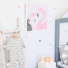 What a fabulous wall @jujuzozokids created with our Heart Wall Decals and her new Flamingo Print. We love it!