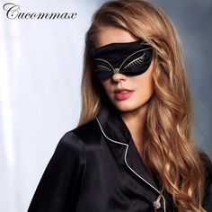 [Visit to Buy] Cucommax Duplex 100% Natural Silk Sleeping Eye Mask Sexy Fox Eye Shade Sleep Mask Black Mask Bandage on Eyes for Sleeping-MSK43 #Advertisement