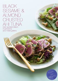 Black Sesame & Almond Crusted Ahi Tuna over sauteed beech mushrooms and mixed greens