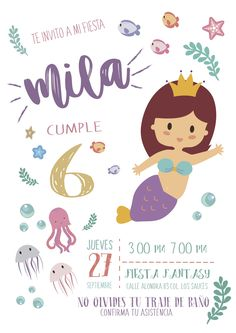 Invitación de fiesta de sirena. #fiestainfantil #mermaidparty Leo Birthday, Mermaid Birthday, Birthday Parties, Little Mermaid Parties, The Little Mermaid, Party Fiesta, Mermaid Diy, Barbie, Birthday Invitations