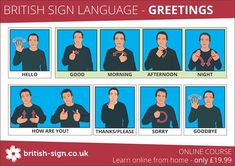 BSL greetings signs. Learn to sign hello, good morning, good afternoon, good evening, how are you?, thank you, please, sorry, bye in British Sign Language