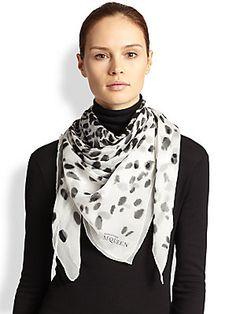 Alexander McQueen Leopard-Print Silk Shawl