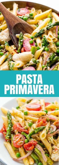 This Pasta Primavera is full of spring vegetables for a light and fresh pasta that you can easily serve up for dinner. #thestayathomechef #vegetarian #pasta