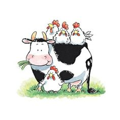 Cow with Hens