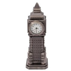 Grey Novelty Clock Tower Themed Miniature Desktop Mini Clock