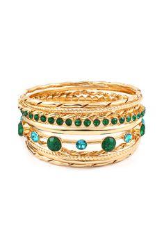 Isis Bracelet Set in Emerald