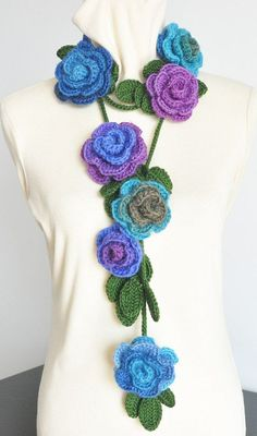 RESERVED ROSA x3 and Ruffle Crochet Scarves by jennysunny