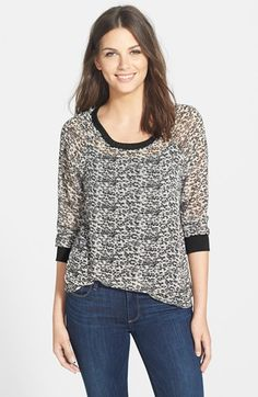 Pleione Knit Trim Woven Sweatshirt available at #Nordstrom #pleione #sweatshirt #print #womensfashion