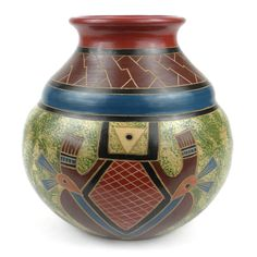 Global Crafts Handmade 7-inch Tall Vase - Abstract Design