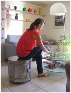another washing machine drum stool...in action and in France !