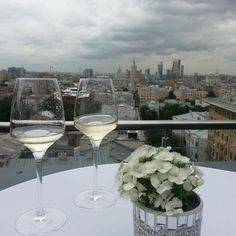 The perfect combination. Foto from terrace at Ulanova presidential Suit posted in Instagram by one of our guests #wine #flowers #Moscow #view #hotel