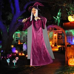 Life Size Hanging Animated Talking Witch Halloween Haunted House Prop Decor for sale online Halloween Decorations Clearance, Halloween Witch Decorations, Halloween 20, Outdoor Halloween, Haunted House Props, Halloween Haunted Houses, Witch Dress, Witches, Indoor Outdoor