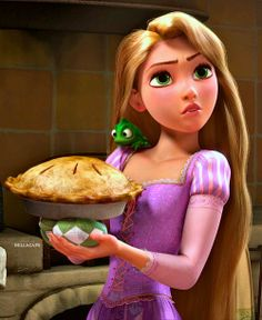 Rapunzel & Pascal is TimTim and Snowyball - made pie (Tangled and the Adventures of TimTim.)