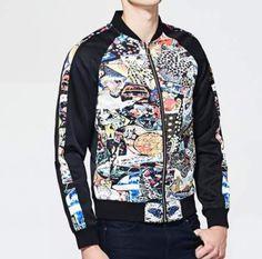 Cool graffiti bomber jacket for men plus size baseball jacket
