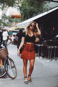 Natasha Oakley takes on #NYFW in Nasty Gal suede #NastyGalsDoItBetter || Shop the skirt: http://www.nastygal.com/clothes/nasty-gal-bobby-mcgee-suede-skirt?utm_source=pinterest&utm_medium=smm&utm_term=nastygals_do_it_better&utm_campaign=ngdib