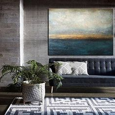 Large Canvas Wall Art Abstract Gray Painting Blue Abstract Painting Abstract Canvas Art Original Abstract Painting On Canvas Office Decor Blue Abstract Painting, Abstract Canvas Art, Seascape Paintings, Your Paintings, Original Paintings, Abstract Paintings, Painting Art, Original Art, So Happy