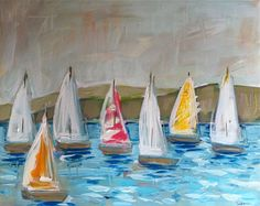 Abstract Sailboat Painting Canvas Original pink by Marendevineart