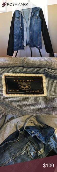 Men's distressed Zara denim and leather jacket. Incredibly dope men's denim distressed jacket with leather sleeves from Zara. A few seasons older but distressing was done by me to update the feel of the jacket. Wears incredibly nice. Zara Jackets & Coats Jean Jackets