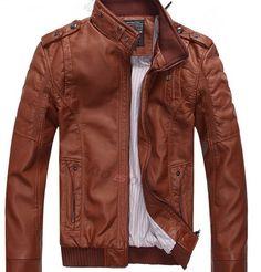 Black Friday - Hot Sale Leather Men's PU Jacket Leather Motorcycle Coat Jacket, Brown Jacket