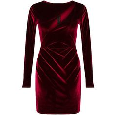 velvet long sleeve bodycon dress burgundy ($51) ❤ liked on Polyvore featuring dresses