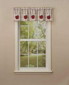 The Apple Orchard pattern is classic farmhouse look on an all cotton fabric. It features a traditional barn red and green plaid on an off white background. The pattern was inspired from the farm and freshly picked apples from the orchard. Small Window Curtains, Drapes Curtains, Curtain Valances, Country Decor, Rustic Decor, Waverly Valances, Kitchen Rugs And Mats, Lodge Look, Fox Decor