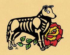 En un mundo perfecto, perros y gatos serían los mejores amigos. Este Día de los Muertos perro y gato son por siempre amigos, más que eso, son familia. :) Para ayudar a sus compañeros peludos, 10% de cada venta de esta impresión, se donarán a mi refugio favorito local «no matar» (http://www.austinpetsalive.org).  Se trata de una reproducción de mi arte original. Puedes elegir una impresión que mide 5 x 7, 8 x 10 o 11 x 14. Firmado en la parte posterior por el artista y listo para deslizarse…